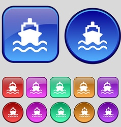 Ship icon sign a set of twelve vintage buttons for vector