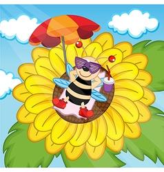 Bee sunbathing on sunflower vector