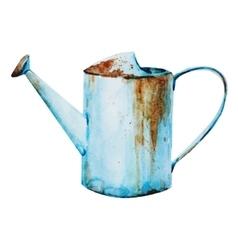 Watercolor watering can vector
