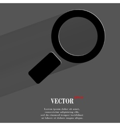 Search magnifier flat modern web button with long vector