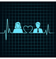 Creative male female icon with electrocardiograph vector