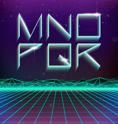 80s retro futurism geometric font from m to r vector