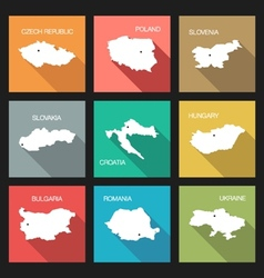 Flat icons - world countries vector