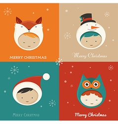 Set of cute xmas cards vector