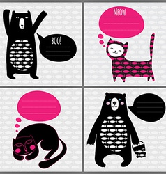 Set of 4 greeting cards with cats and bears vector