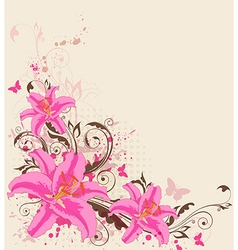 Decorative background with pink lily vector