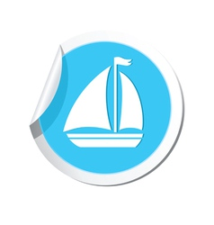 Boat icon round blue vector