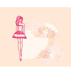 Trendy girl in a short dress on a floral vector