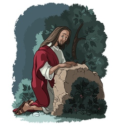 Agony in the garden jesus in gethsemane scene vector