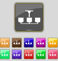 Chandelier light lamp icon sign set with eleven vector