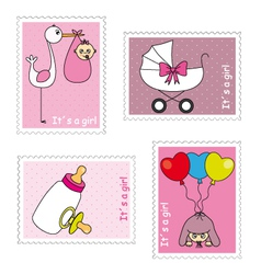 Stamps baby girl vector