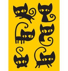 Black cat set vector