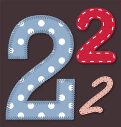 Set of stitched font - 2 two vector