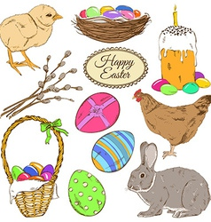 Set of colorful easter icons vector