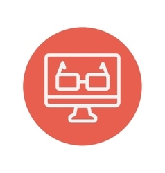 Glasses in computer monitor thin line icon vector