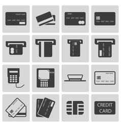 Black credit cart icons set vector