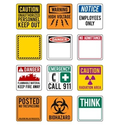 Blank safety and warning signs vector