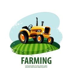 Tractor logo design template harvest or farm icon vector