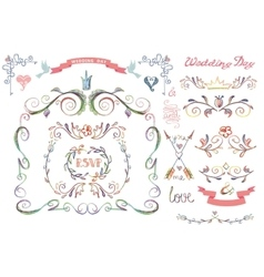 Cute wedding template setfloral decor element vector