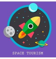 Space tourism flat logos and icon vector