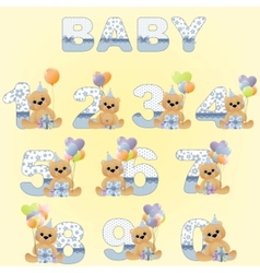 Cute baby birthday digits vector