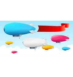 Retro dirigible and flags background vector