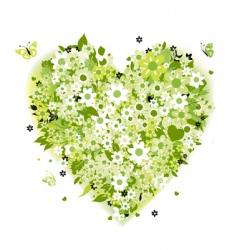 Floral heart shape summer green vector