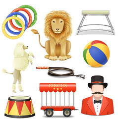 Circus icons set 3 vector
