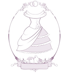 Bride wedding dress in frame vector