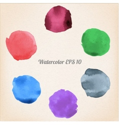 Colorful isolated watercolor paint circles vector