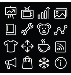 Web white navigation line icons set vector