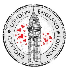 Grunge love heart stamp london great britain vector
