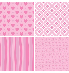 Set of pink seamless patterns vector