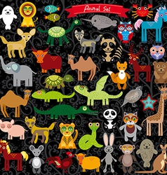 Set of funny cartoon animals character on black vector