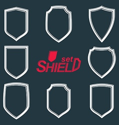 Collection of grayscale defence shields protection vector