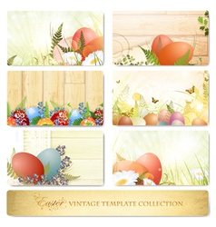 Easter vintage template collection vector
