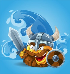 Smile viking in helmet vector