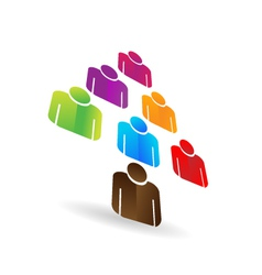 Leader business teamwork tree icon vector