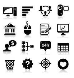 Website menu navigation black icons set vector