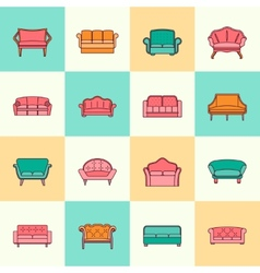 Sofa icon flat line vector