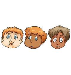 Sad faces of boys vector