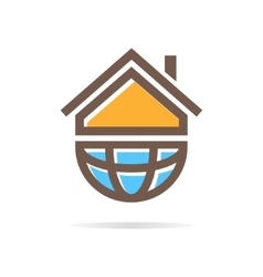 Logo combination of a house and earth vector