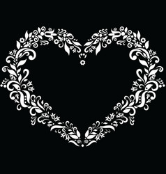 Embroidery inspired heart shape in white vector