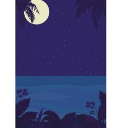 Tropical night ocean landscape vector