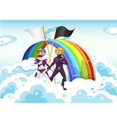 Superheroes in the sky near the rainbow vector