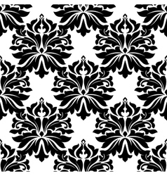 Black classic damask seamless pattern vector