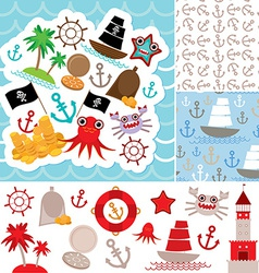 Vintage scrap nautical card and seamless pattern vector