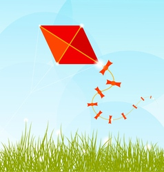 Summer background with grass clouds and a red kite vector