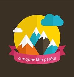 Mountain design with ribbon vector