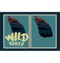Wild party invitation template vector